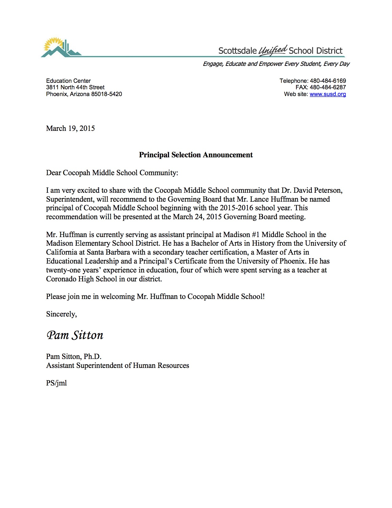 Announcement Letter re Cocopah Principal