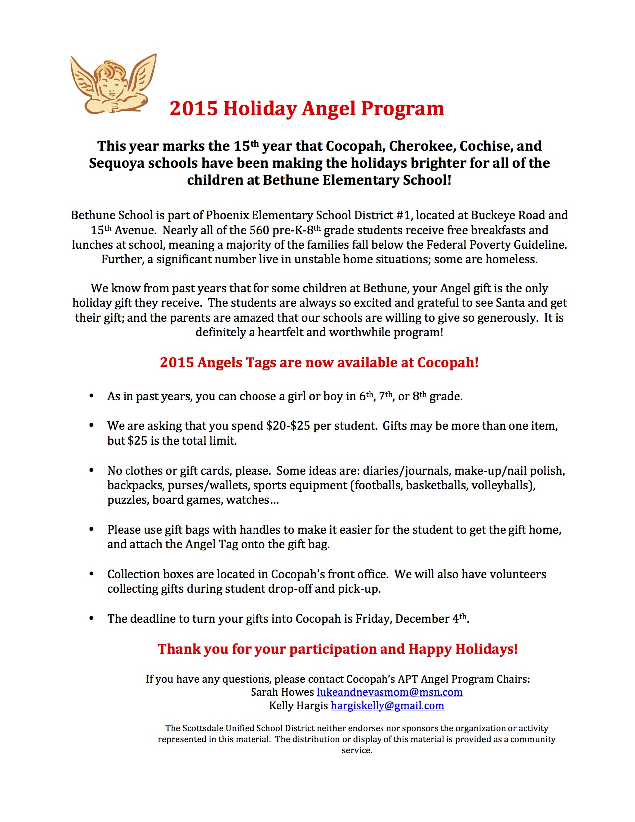 2015 Holiday Angel Letter